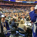 Joseph Woll is welcomed to the Leafs by Brendan Shanahan and Mike Babcock. #TMLtalk #TMLDraft https://t.co/HhQBiWNPgU