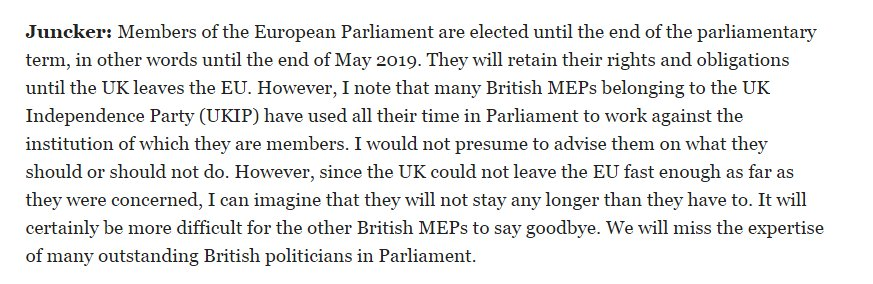 Juncker tells Ukip MEPs to go now. https://t.co/44rAUBGmKj