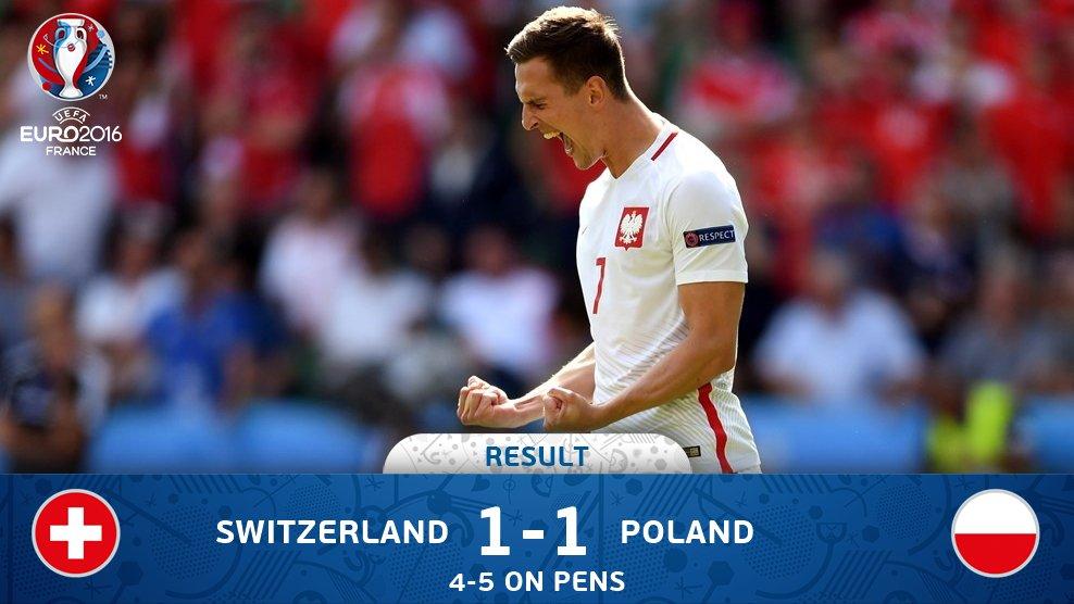 That's it! #POL progress to the #EURO2016 quarter-finals.