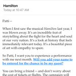 Ugh, stop bragging @HillaryClinton. I get it. YOU CAN GET TICKETS TO HAMILTON. #StillLoveYou #ImWithHer #AndHamilton https://t.co/UqX0lmOHdN