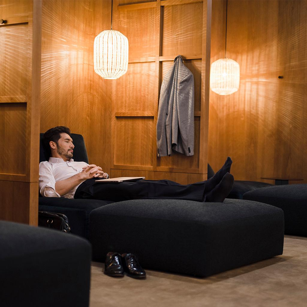 Take a break in the Relaxation Room, exclusive to our revamped Pier Business Class Lounge.