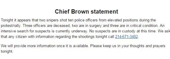 STATEMENT: 10 OFFICERS SHOT IN DALLAS https://t.co/NxFIyNq6OA