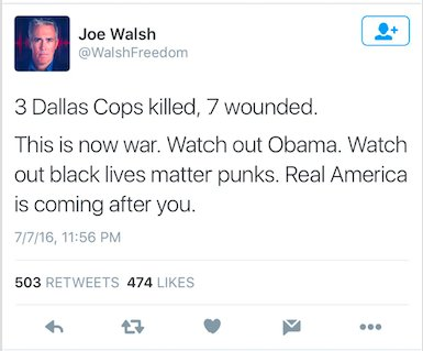 People are taking off the mask tonight. This is a now deleted tweet from former congressman @WalshFreedom. #Dallas https://t.co/IMAOXnvgdL