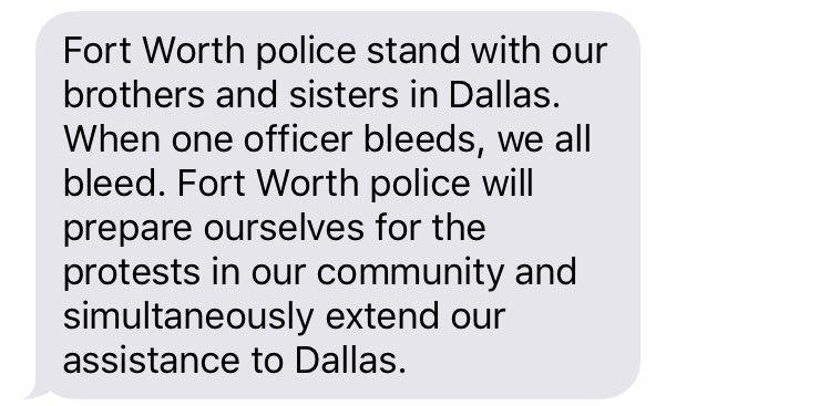 Statement from Fort Worth Police Officer Association re: #DallasShooting @FOX4 https://t.co/UEk8z6FrJ5