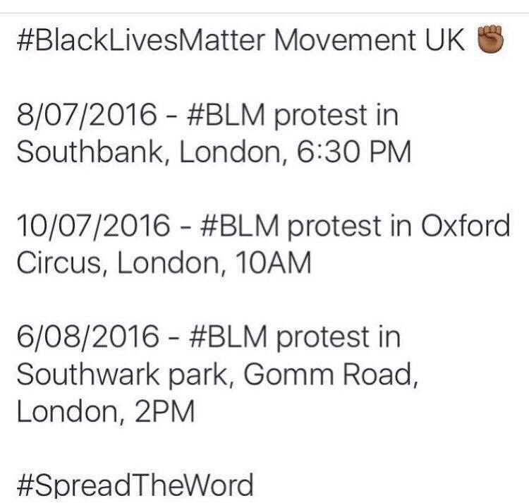 Dates and locations for #BlackLivesMatter protests planned in the UK via@swissworld https://t.co/wHwL1vG3Yu