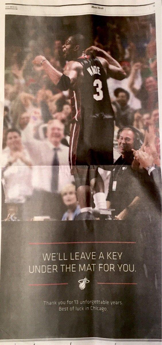 The Miami Herald's Dwyane Wade ad. https://t.co/YGgGtWsMgA