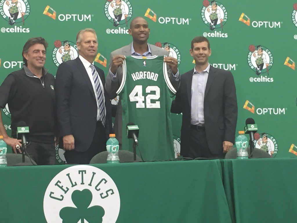 #Celtics PF/C @Al_Horford showing off the green and his #42 https://t.co/aYoOMzrkjU