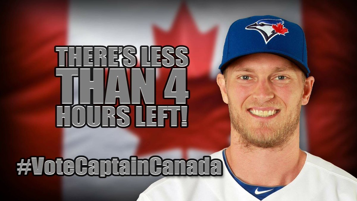 Hey @BlueJays fans! There's less than 4 hours left to #VoteCaptainCanada to the @AllStarGame! Keep the votes coming! https://t.co/xxNxwYgDgH