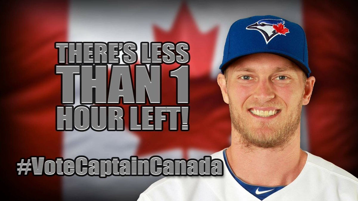 There's only 3,600 seconds left to #VoteCaptainCanada so spend them wisely and vote, vote, VOTE! https://t.co/R0EiWgEFQo