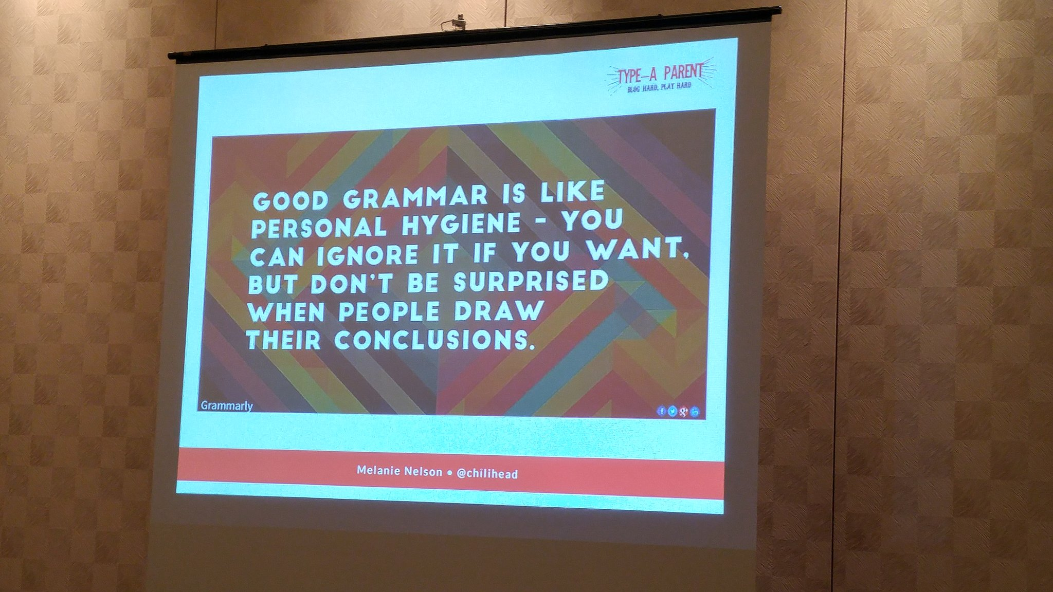 Love this slide from #typeacon talk by @chilihead #grammar is important. https://t.co/WS7HTCR5yM