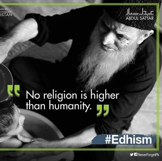 His message was simple but he couldn't get through to people so divided. Let's pledge to be more humane humans #Edhi https://t.co/xSshCUeB10