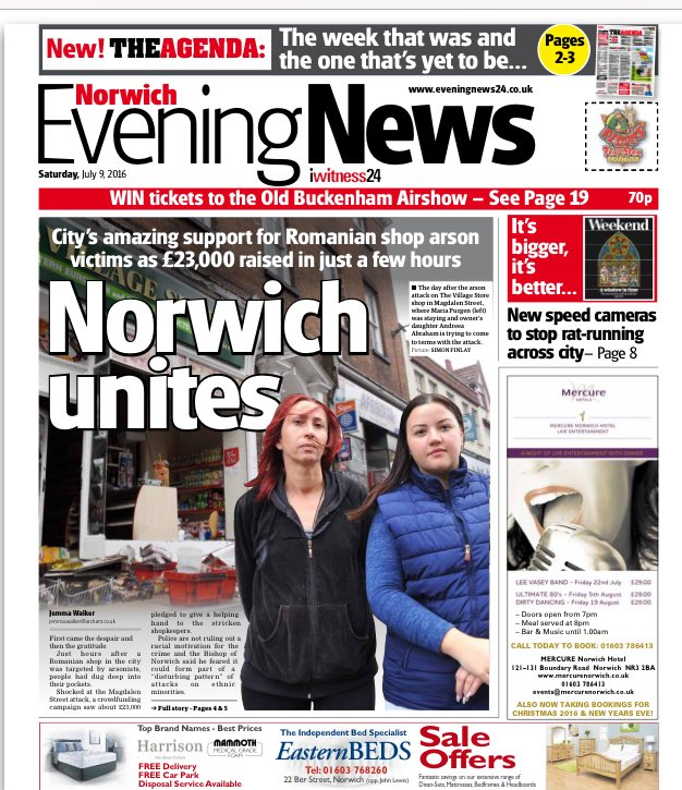 Amazing response to Magdalen Street arson from the good people of Norwich today. @eveningnews front on just that... https://t.co/9w9KzCQ63r