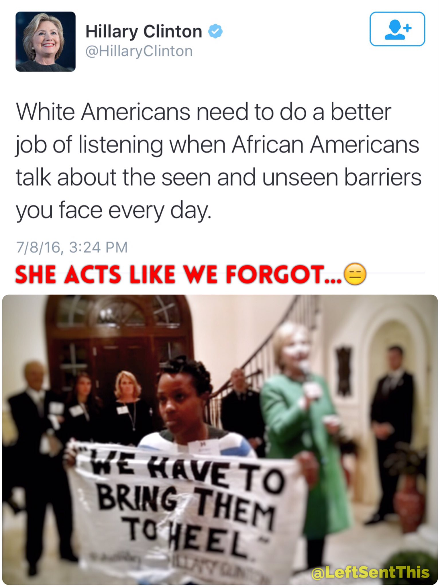 Hillary Clinton acts like this tweet erases her silencing this Black women, and calling Black men 'super predators.' https://t.co/gHs0UY56zy