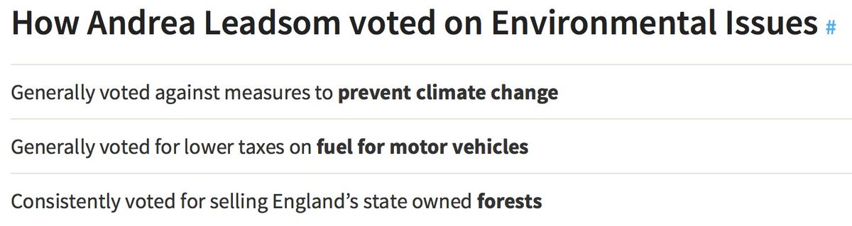 How @andrealeadsom voted on environment. She was Secretary of State for Energy & Climate Change @CleanAirLondon https://t.co/jlilgPAh0n