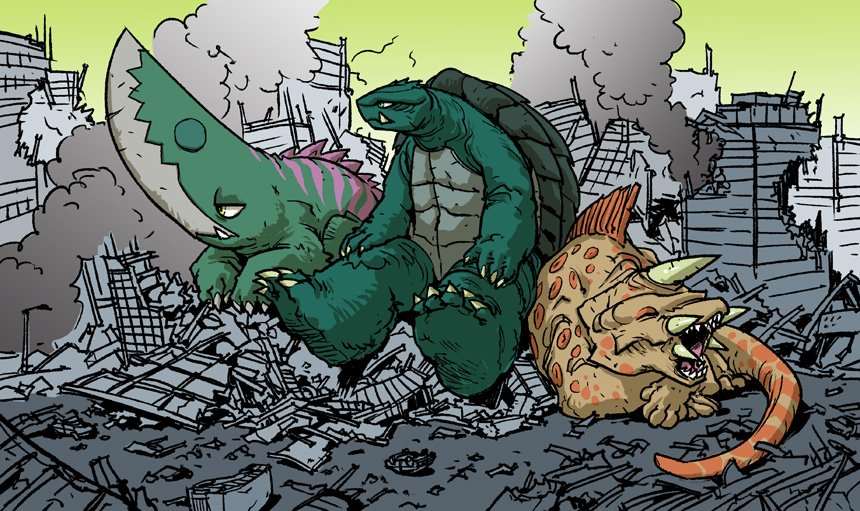 Gamera, Jiger, and Guiron after a hard day's work of kaiju-ing. #Kaijuly2016 https://t.co/JP6fulHBbj