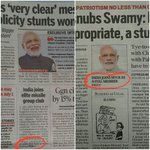 What media wants you to see! When PM snubbing Swamy makes Front Pg Headline and MTCR is pushed to Pg 6 or Pg 13. https://t.co/YnVnJJXBFn