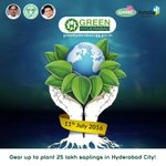 Join hands to transform Hyderabad into a #GreenHyderabad. #EachOnePlantOne #HarithaHaram #Telangana https://t.co/varYFYiLzP