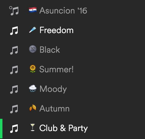 Emojis make playlist source view in @Spotify much easier to look through: https://t.co/OFWBYwTabA