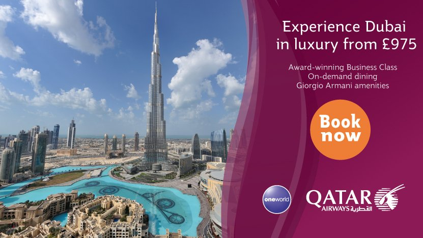From just £975fly Manchester to Dubai in Qatar Airways' award-winning Business Class.