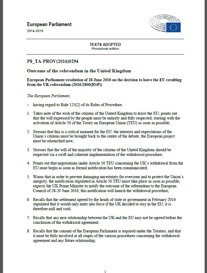 Today, the European Parliament called on UK to invoke Article 50 TEU as soon as possible. Read the adopted version: https://t.co/lifoMxlENy