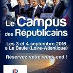 Nous vous donnons RDV les 3 & 4 septembre pour le traditionnel Campus de @LaBaule2016 des Républicains! #LaBaule2016 https://t.co/jbopTyEOfn