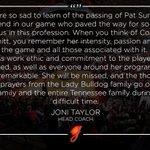 A statement from @CoachJoniTaylor regarding the passing of Coach Pat Summitt: https://t.co/KkpUtFrPek