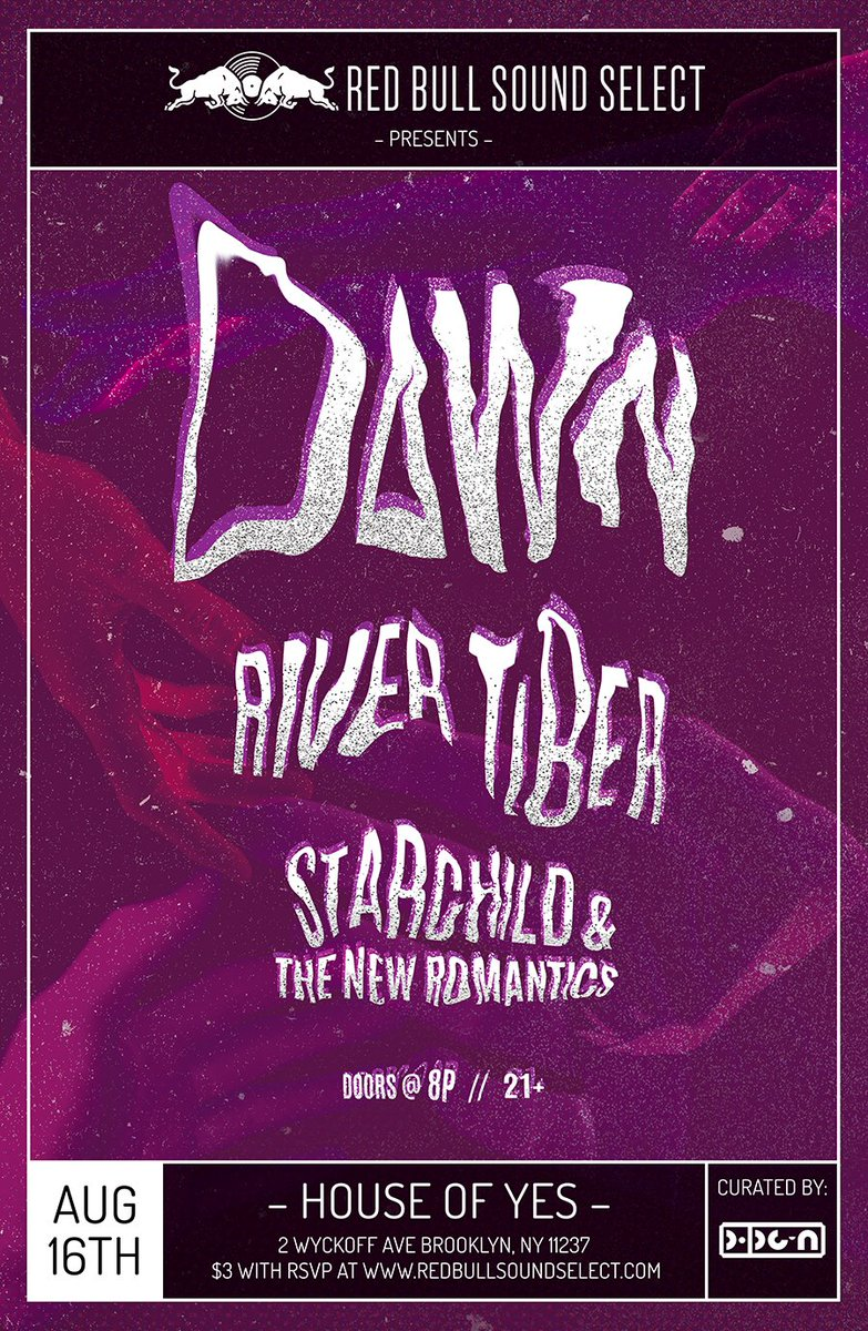 RSVP now #soundselect  ◥◣ DAWN River Tiber, Starchild & The New Romantic 8/16 @thehouseofyes https://t.co/lvo5Pe4YRh https://t.co/EddOOpDU8a