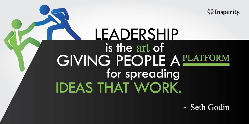 """#Leadership is the art of giving people a platform for spreading ideas that work."" ~ Seth Godin https://t.co/3iTYwDxool"