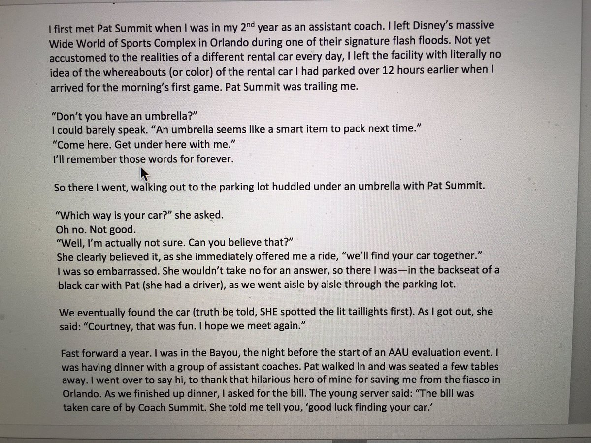 This is gold! RT @CoachBanghart: My true story of Pat Summit. https://t.co/nvpafUZ9cH