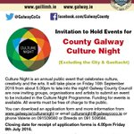 County Galway Culture Night is on 16th Sept. Closing date for application forms for funding is 8th July #LoveCulture https://t.co/9HzlQmzNTp