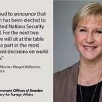#Sweden has been elected to the United Nations Security Council 2017-18! We will #PushForPeace #SwedenInUNSC https://t.co/LIdkZRbsQT