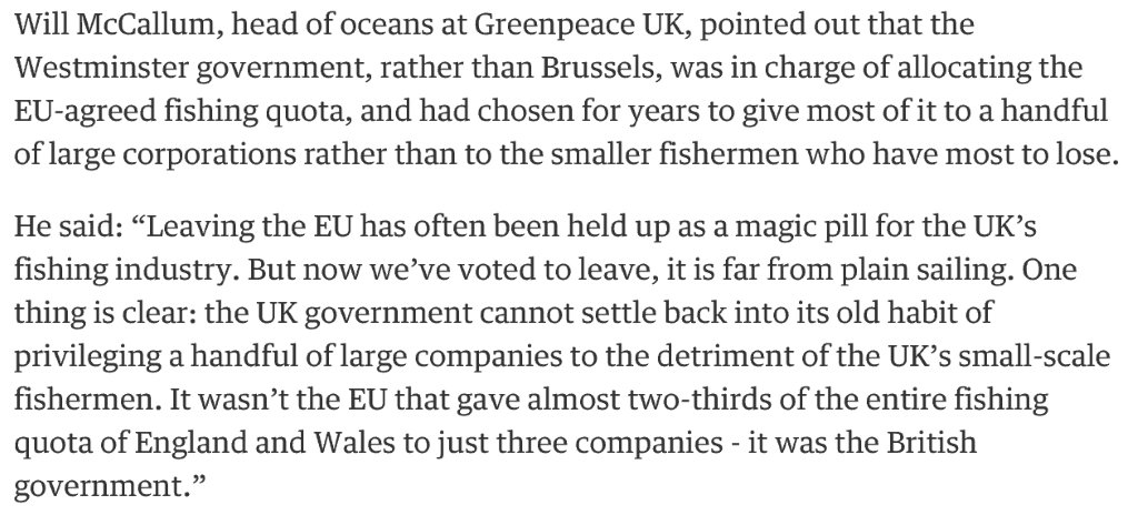 today in 'what did you mean the EU is a better deal than we realised' - UK gov allocated fishing quota to 3 co https://t.co/A6Gs7L1zTQ