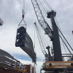 Cranes in the sky at ProvPort today unloading turbine blades for @DeepwaterWind https://t.co/biWoNxzJu5