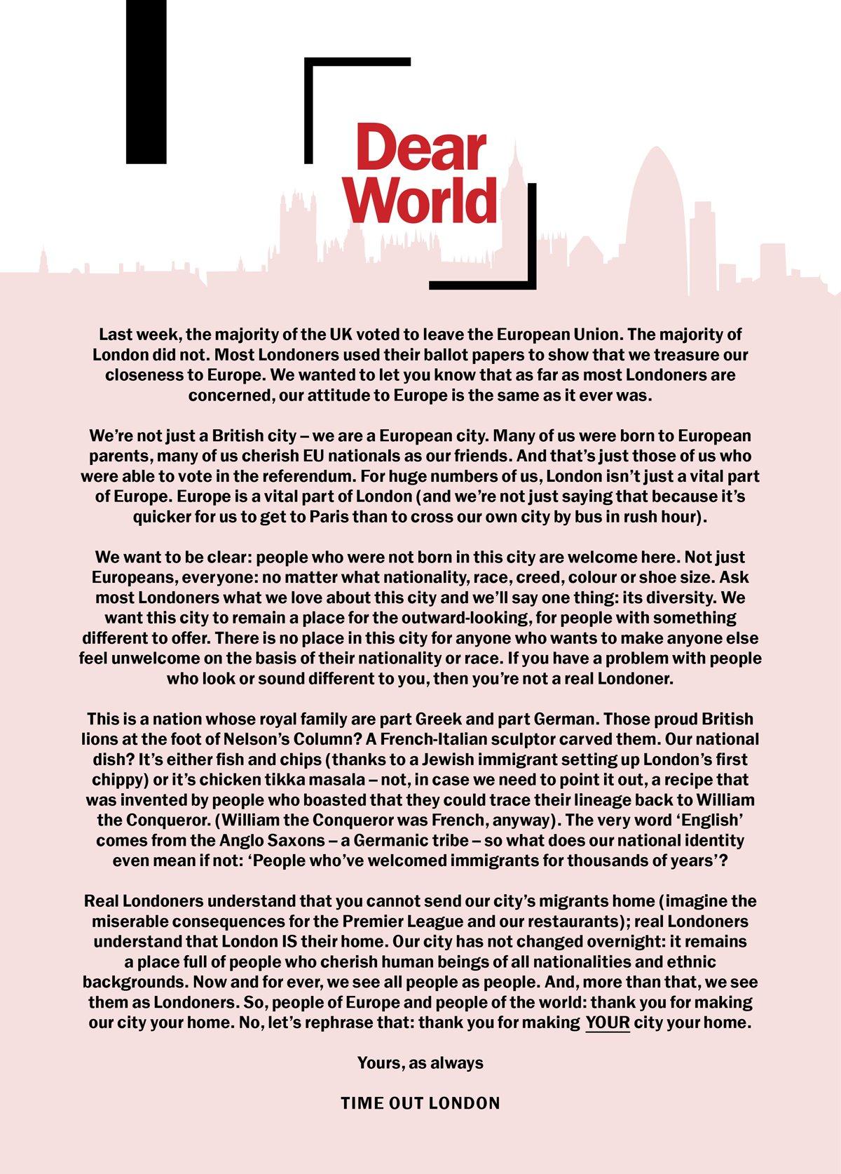 Dear world, from @TimeOutLondon. ❤️ #LondonIsOpen https://t.co/q6AzhHEbOM