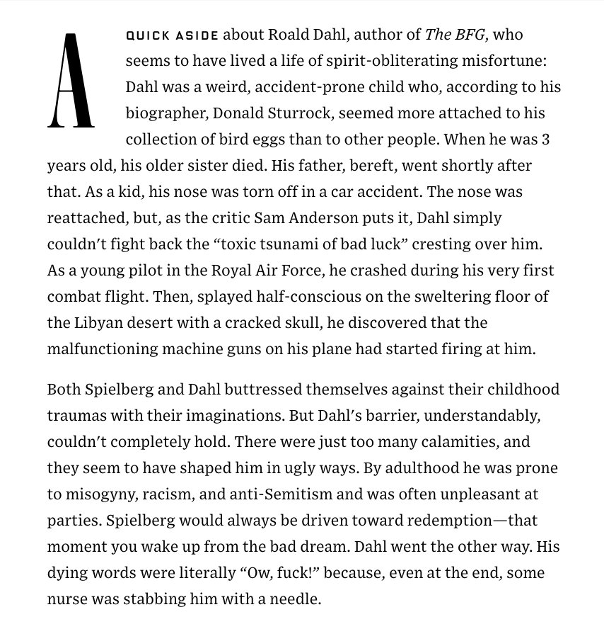 Lots of really compelling stuff in this @WIRED profile of Steven Spielberg, but this on Roald Dahl... damn, dude. https://t.co/1RQZ8JmF6m