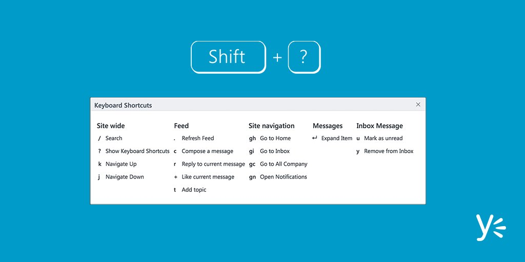In Yammer you can see a list of shortcuts by pressing Shift+?. Try it for yourself. https://t.co/yf32B0cf5v