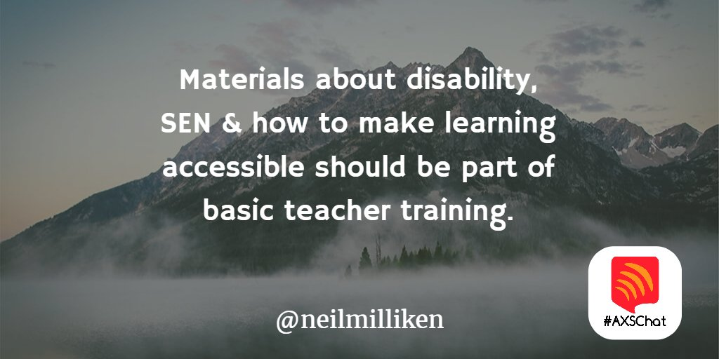 A1 Materials on disability, SEN & how to make learning accessible should be part of basic teacher training #axschat https://t.co/DtRpuVW0kM