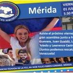 @Equipo10 y @JuveMerida invita el viernes 01/Julio a la Asamblea #RescateVenezuela en la cancha de la FCU a las 5:30 https://t.co/yyJ01eXDxh