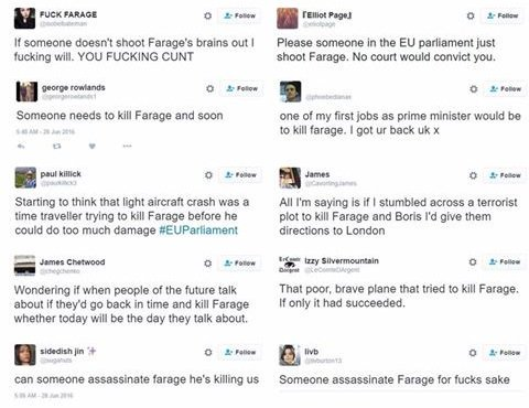 Why is it that this kind of hate isn't being reported. Ah, yes, it's because it's happening to @Nigel_Farage. https://t.co/jpuYiqOtHe