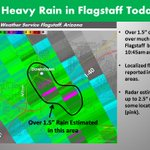 """Over 1.5"""" of rain in parts of Flagstaff late this AM...heres a graphic showing where the heaviest rain fell  #azwx https://t.co/hdt82nLYM5"""