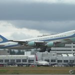 Air Force One leaving @SeaTacAirport on Saturday morning. #POTUS #AF1 #B747 #Seattle https://t.co/RnqjKc5Ho3