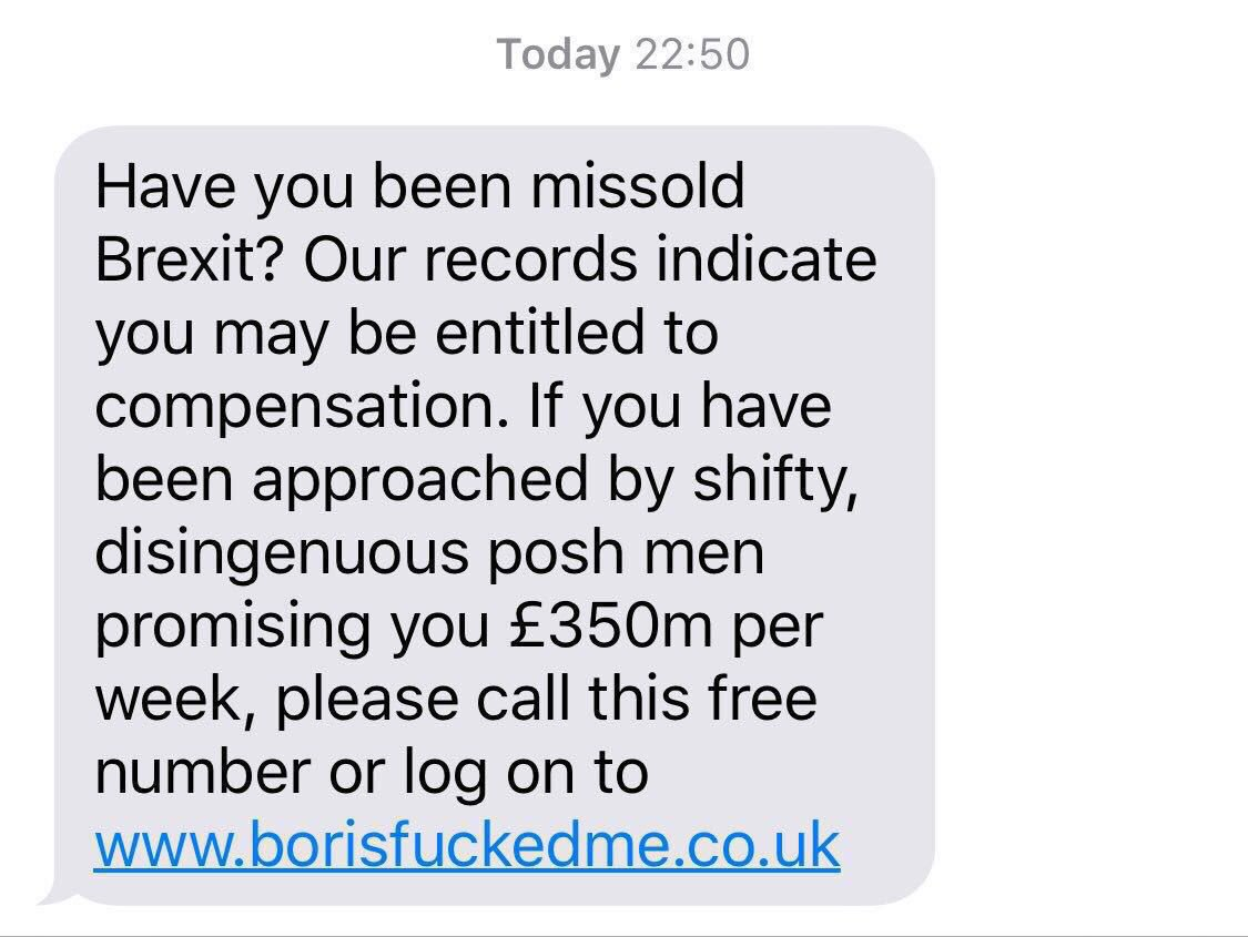 You've probably seen this spoof text doing the rounds. But surely funny whether you voted Remain or Leave https://t.co/wBok5qHdE0