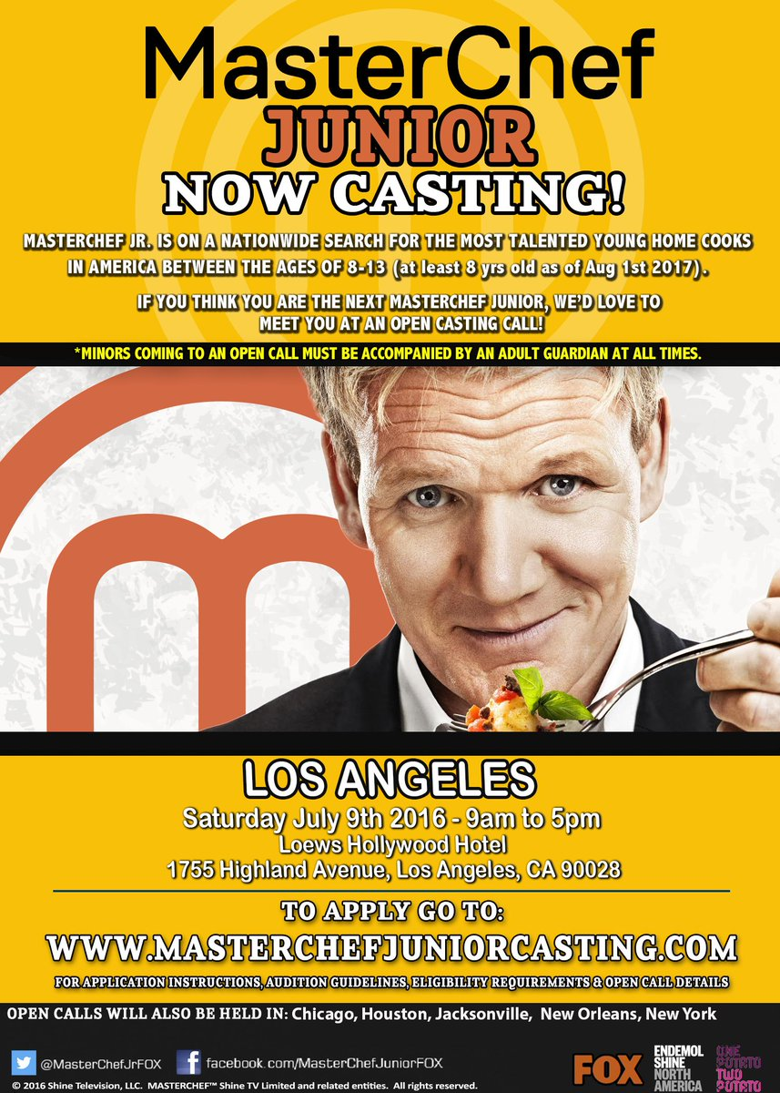 Does your child love to cook? MasterChef Junior will be casting in #LosAngeles on Sat 7/9! https://t.co/uhc5LbcH6M https://t.co/z0RHWP9rEr