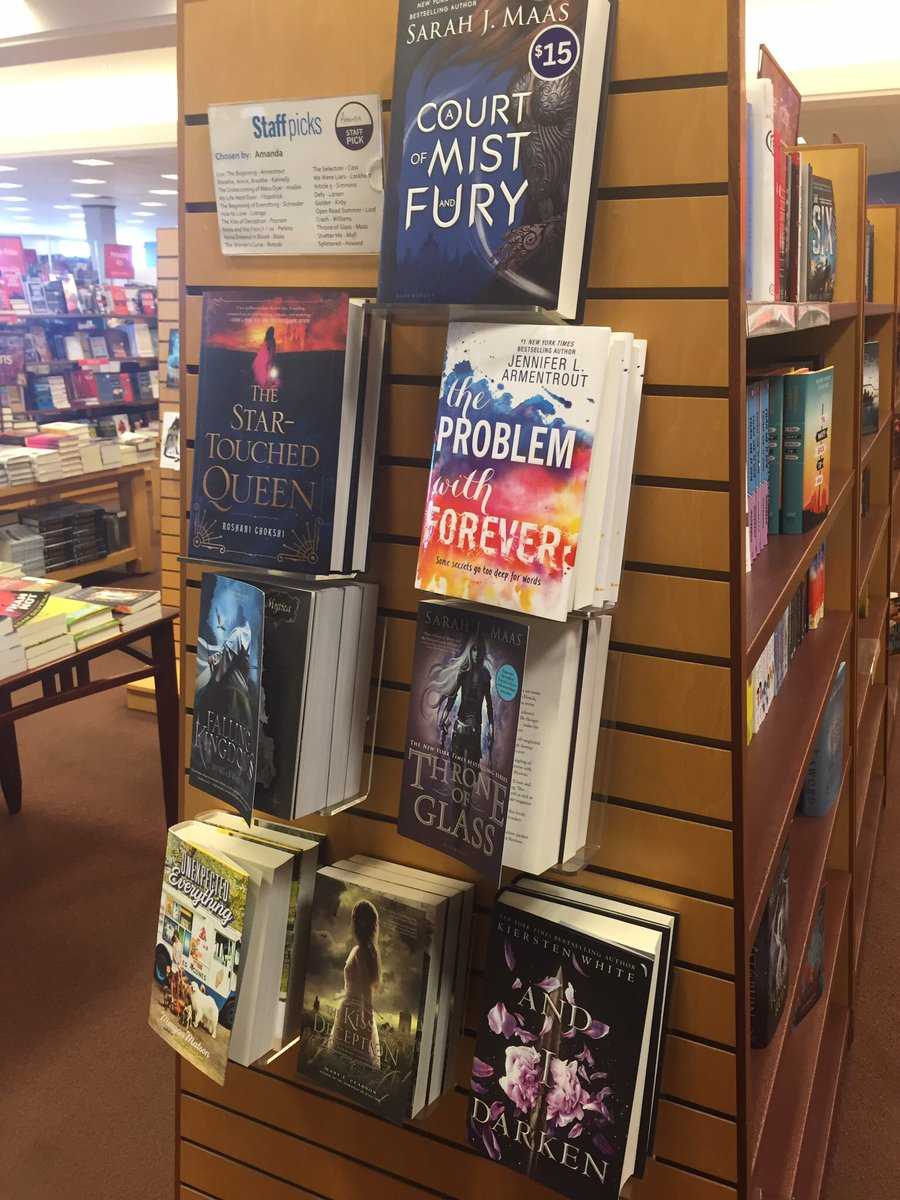 New books -staff pick wall @JLArmentrout @kierstenwhite @morgan_m @MorganRhodesYA @NotRashKnee @SJMaas @marypearson https://t.co/4gp6XTvOfw