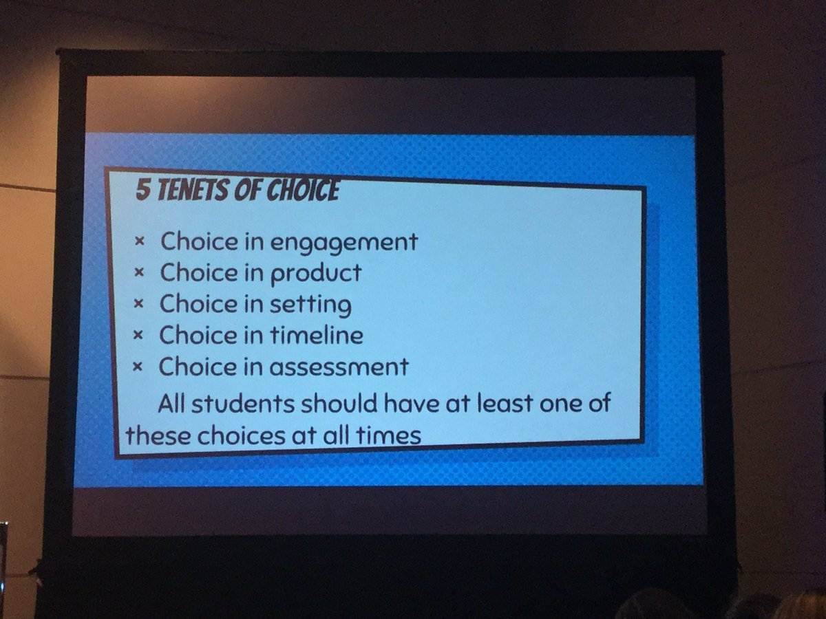 5 Tenets of CHOICE in our classrooms @pernilleripp #ISTE2016 https://t.co/BlWNYlm30k