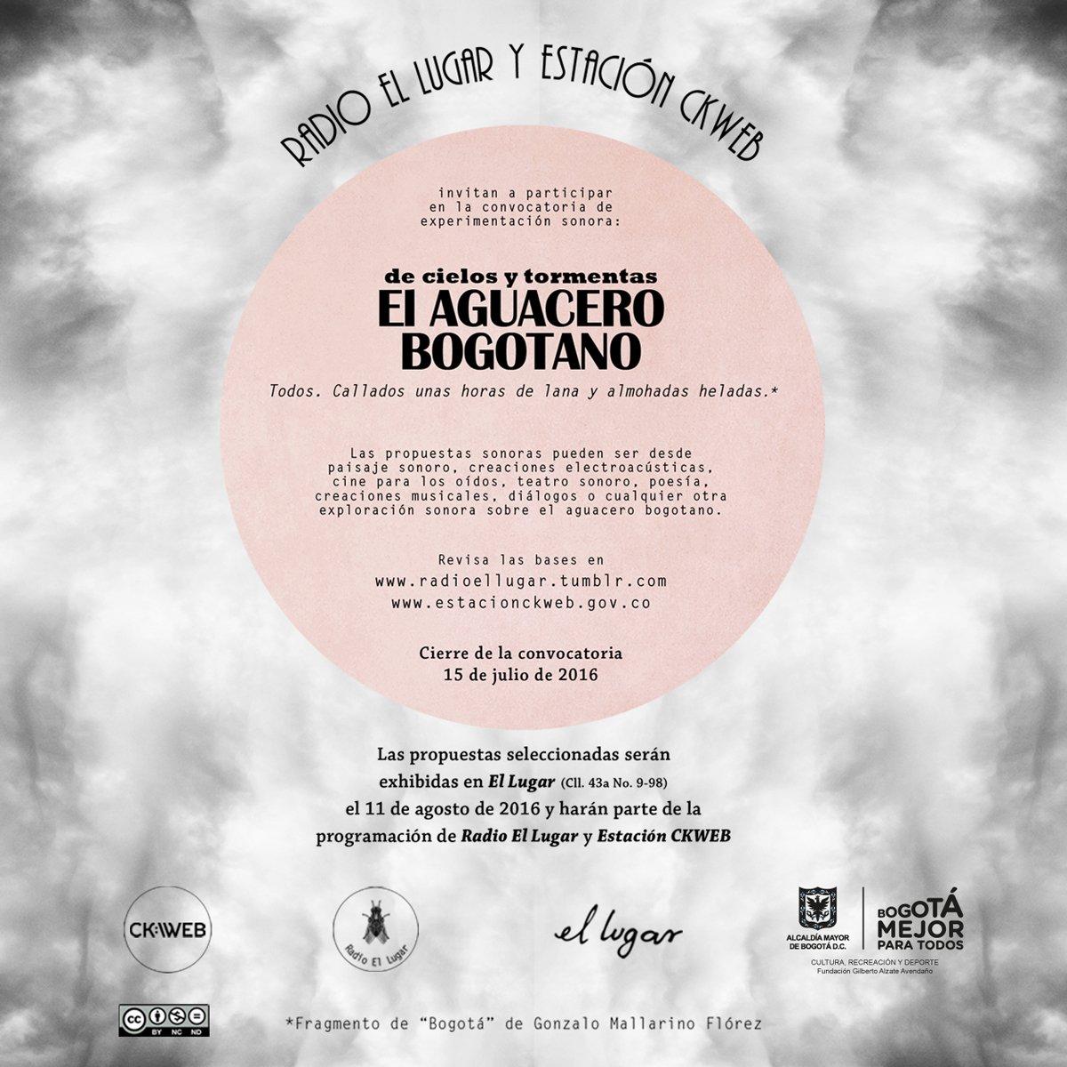 Tenemos rodando la primera convocatoria de @EstacionCKWEB inspirada en el bellísimo y tradicional #AguaceroBogotano. https://t.co/P22aWkRO46