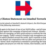 """All Americans stand united with the people of Turkey against this campaign of hatred and violence."" —Hillary https://t.co/QmSccJvcV0"