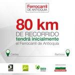 Inicialmente el #FerrocarrildeAntioquia tendrá un recorrido de 80 kilómetros, entre Caldas y Barbosa https://t.co/l1RJfdGio6