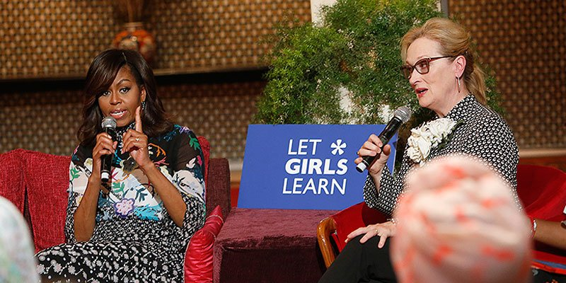 Meryl Streep and Michelle Obama tell girls in Morocco to never give up on education