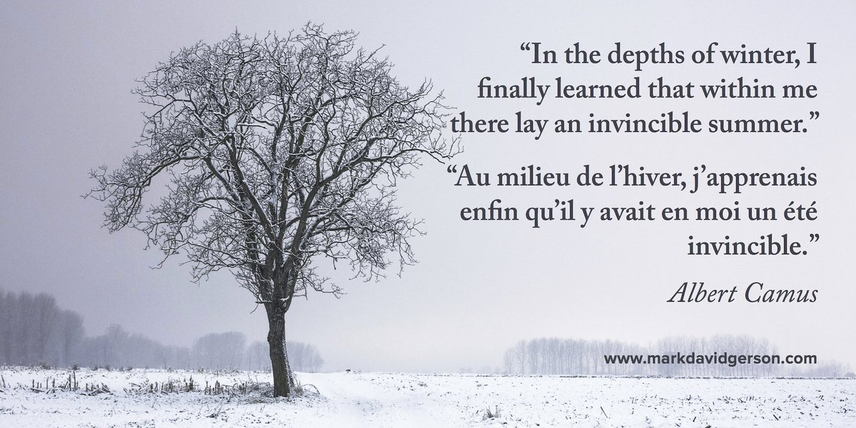 """In the depths of winter, I finally learned that within me there lay an invincible summer."" #Albert Camus #quote https://t.co/0GRiJulWjU"